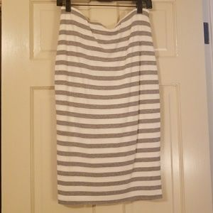Striped, knit, bodycon skirt